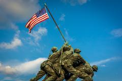 The US Marine Corps War Memorial in Arlington, Virginia. Stock Photos