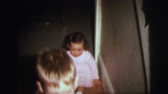 1972: kids playing with food LYNBROOK, NEW YORK Stock Footage
