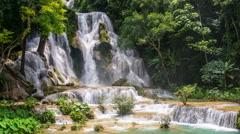 Waterfall in Laos. Hyperlapse Stock Footage
