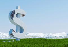 Damaged concrete dollar sign statue isolated on grass meadow with snowy mountain Stock Illustration