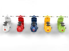 Colorful stylish vintage scooters - top rear view Stock Illustration