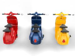 Cool looking vintage scooters - primary colors Stock Illustration