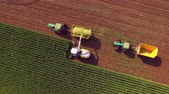 Farm machines harvesting corn for ethanol Stock Footage