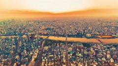 Sunset time-lapse high above Tokyo Stock Footage