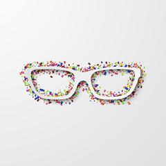 Vector modern glasses with confetti on white Stock Illustration