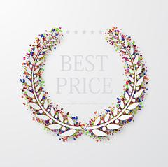 Vector modern laurel wreath with confetti on white Stock Illustration