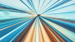 POV timelapse through Tokyo tunnels via monorail Stock Footage