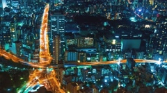 Night cityscape time-lapse high above Tokyo Stock Footage