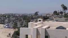180 pan of Newport Beach coast with harbor entrance Corona Del Mar in view.mp Stock Footage