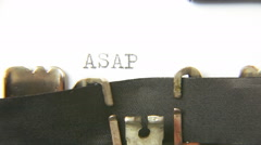 Typewriter macro asap Stock Footage