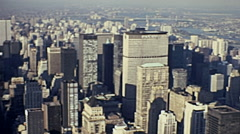New York 1972: the skyline from Empire State building terrace Stock Footage