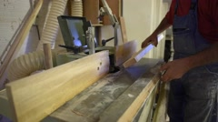 Closeup of woodworking in carpenter's workshop Stock Footage