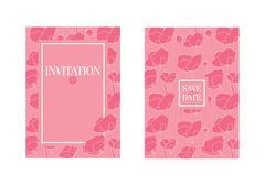 Floral wedding invitation template. Pink flowers Stock Illustration