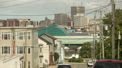 Saint John, New Brunswick City Street with City Skyline. Stock Footage