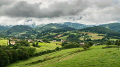 North Spain Landscape with green mountains and dynamic clouds Stock Footage