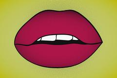 Pop art sexy seductive lips with visible teeth on yellow background Stock Illustration