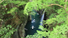 Time-lapse clip for Takachiho Gorge and moving boats, Miyazaki, Japan Stock Footage