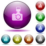Camera with flash glass sphere buttons Stock Illustration