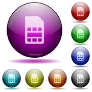 SIM card glass sphere buttons Stock Illustration