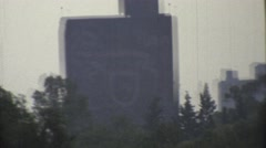 1973: looking through a window at a building. MEXICO Stock Footage