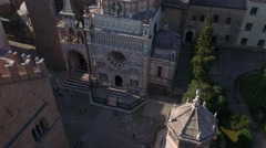Aerial view of Cappella Colleoni and the city of Bergamo, Italy Stock Footage