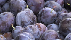 Plums On The Stand Close Up Stock Footage