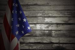 American flag and wooden wall Stock Photos