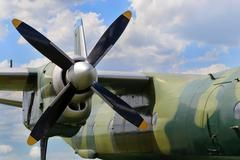 Close up of airplane engine with propeller, parts of the military transport t Stock Photos