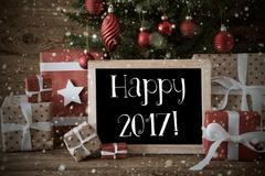 Nostalgic Christmas Tree With Happy 2017, Snowflakes Kuvituskuvat