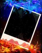 Photo in red and blue flame Stock Illustration