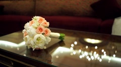 Wedding bouquet on the glass table Stock Footage