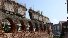 Remaining walls - Ruins from world war 2 in Gdansk Poland Stock Footage