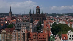 Aerial view drone shot from Gdansk St. Mary's Church and old town Arkistovideo