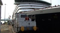 Panama Mule Pulling a Cruise Ship Stock Footage