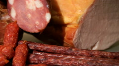 Pan on meat, carbonado and sausage Stock Footage