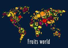 Fruits world map placard background Stock Illustration