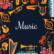 Music poster. Wind and strings musical instruments Piirros