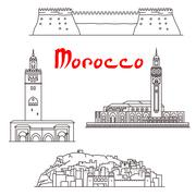 Historic buildings and sightseeings of Morocco Stock Illustration
