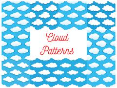 Cartoon cumulus clouds seamless patterns Stock Illustration