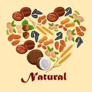 Natural nuts and cereals poster Stock Illustration