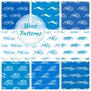 Ocean waves seamless pattern backgrounds Stock Illustration