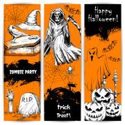 Halloween Party celebration posters and banners Stock Illustration