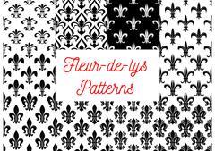 Black and white fleur-de-lis seamless patterns set Stock Illustration