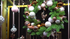 Beautiful Christmas Wreath Decoration White Balls Stock Footage