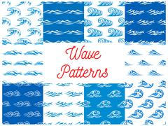 Blue and white ocean waves seamless patterns set Piirros