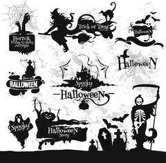 Halloween, Friday 13 horror party decorations set Stock Illustration