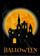 Haunted castle and full moon Halloween poster Stock Illustration