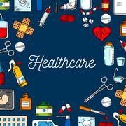 Healthcare and medicine sketched background Stock Illustration