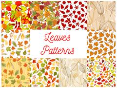 Autumn fallen leaves seamless patterns set Stock Illustration