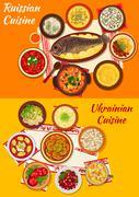 Russian and ukrainian cuisine lunch menu icon Stock Illustration
